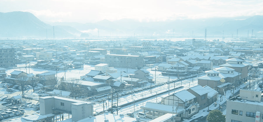 View in front of Sabae Station in the winter wonderland of snow