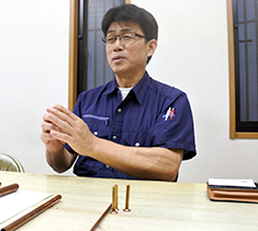 Mr. Horiuchi, a sales manager of Toyooka Seisakusho